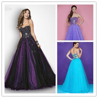 New Black and Light Purple Tulle Sweetheart Beaded Ball Gown...