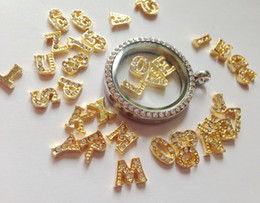 Wholesale 180pcs gold numbers letter mixed each A Z Alphabet Initial floating charm for Glass Locket Necklaces Valentine gift
