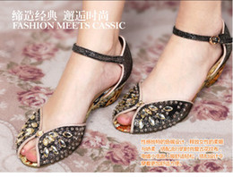 Wholesale Ladies Retro Sandals - New Cheap Summer Style Women Fashion Retro Wedge Heel Sandals Ladies Sexy Crystal Fish Head Shoes Girls Casual Genuine Leather Marry Shoe