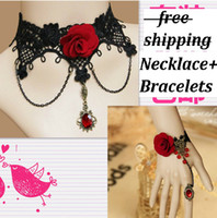 Wholesale Gothic Black Lace With Red Crystal Rose Necklace Bracelet Set Party Vintage Vampire Spider wrist bracelet Ring Set
