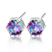 Women's mystic topaz - stone Jewelry mystic topaz silver friendship stud earrings E0600