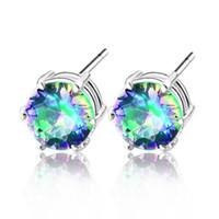 5PCS stone Jewelry mystic topaz 925 silver friendship stud e...