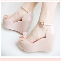 Women Wedge Leather Summer jelly sandals open toe platform plastic women's wedges shoes candy sandals 35-40