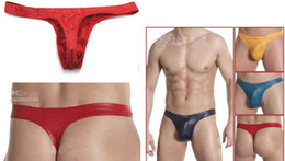 Wholesale Sexy Low Rise Amazing Faux artificial leather Mens Underwear G string T Back Bulging Pouch Thongs String gay panties Jockstrap jocks