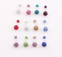 Wholesale Crystal Shamballa Disco Ball Belly Button Ring Ferido Navel Belly Bar Double Ball Body Piercing Jewelry ZO53