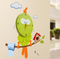 Wholesale Home wall stickers wall clock creative birds wallpaper wall clock cartoon wall clock home accessories a367