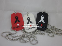 Wholesale MEDICAL ID DOG TAG necklace DIABETIC Fashion dog tag with quot ball chain silicon dog tag colours
