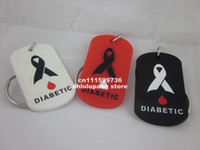 Wholesale MEDICAL ID DOG TAG Tag key chain DIABETIC Tag Silicon key ring tag silicon dog tag colours