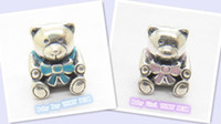 Silver Silver European Details about New 925 Silver Baby Boy Girl Teddy Bear with Blue Pink Ribbon Charm LW239