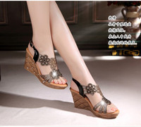 sandal fashion lady shoes - New Cheap Summer Style Women Fashion Retro Wedge Heel Sandals Ladies Sexy Hollow Out Fish Head Shoes Girls Casual Genuine Leather Marry Shoe
