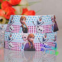 Wholesale 10 yards quot mm Dots printed snowman princess DIY cartoon grosgrain ribbon