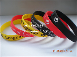 Wholesale Shipping 50PCS Lot League Of Legends Silicone Bracelet Ink Filled Colour Wristband Promotion Gift For Gamers