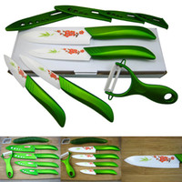 "Ceramic set Green High Quality Ceramic Knife Set Kitchen Knives Fruit Chefs Knife Kit 3"" 4"" 5""+ 6"" Inch + Peeler + Covers Free-Shipping"