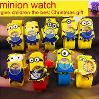 Wholesale Silicone Slap Boy Girls Wristwatch Despicable Me Kids Yellow Minion Watch Children D Cartoon watches one piece