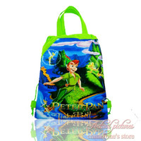 Christmas best kids backpacks - 12Pcs Peter Pan Tinker Bell Drawstring Backpacks Kids Party Bags Kids School Shopping Bags Children Best Gift