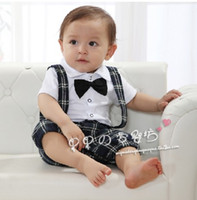 Wholesale children clothes baby summer cute boys Gentleman short sleeve Romper dandys