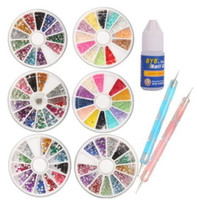 Wholesale Nail Art Decorations Kit Different Shape Nail Rhinestones Wheel Mix Color Wheels Combo Rhinestone Dotting Pen Glue NTS