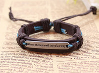 Halloween inspirational jewelry - where theres a will theres a way Inspirational plate English leather bracelet genuine leather jewelry jewelry
