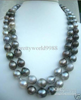 Wholesale AAA genuine quot HUGE13MM SOUTH SEA NATURAL BLACK GRAY PEARL NECKLACE
