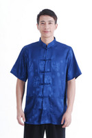 Dress Shirts Satin M2066 Free shipping 2015 hot sale chinese traditional clothing for men chinese top blue kung fu shirt mandarin collar shirt silk shirt M2066