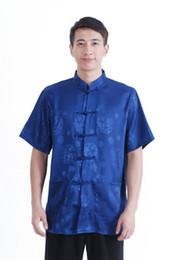 Wholesale hot sale chinese traditional clothing for men chinese top blue kung fu shirt mandarin collar shirt silk shirt M2066