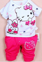 Girl Summer Short 2014 summer baby clothing set children baby girls short sleeved t shirt and pants casual suit cute set for baby girls
