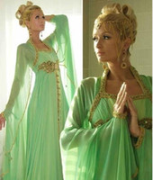 Model Pictures Square Chiffon Glamours Duibai Abaya Evening Gowns Square Neck Long Sleeve Sweep Train with Gold Bead Woman Two Piece Kaftan Evening Dress Arabic