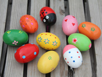 Wholesale Kids music instrument wooden egg shaker chicken shake toys sand block for baby toy