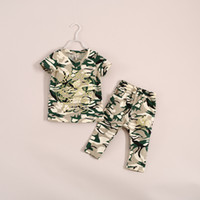 Girl Spring / Autumn Short summer children clothes set fashion girls camouflage coat cotton short sleeve T shirts+long pants suit baby girl outfit for big school girls