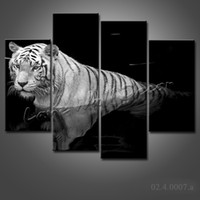 More Panel Watercolor Fashion NO FRAME CANVAS ONLY 4 pieces black and white animals tiger in water painting modern art home decor for living room Free Shipping