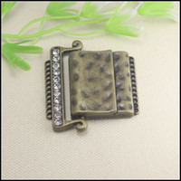 Clasps & Hooks belt findings - 10pcs Antique Bronze Tone Crystal Rhinestones Strong Magnetic Clasp Belt Buckle for Leather CORD jewelry findings