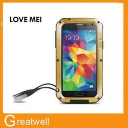 Wholesale LOVE MEI Cubierta de protección de aluminio de metal Gorilla Glass para Samsung galaxia S3 S4 S5 S6 Nota Impermeable a prueba de golpes Caja de venta al por menor