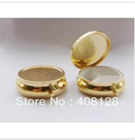 Pill Cases & Splitters Spring, Summer, Autumn, Winter polyester Free shipping metal medicine box round golden color Pillbox 3 Lattice pill case 10PCS LOT