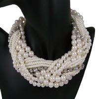 Wholesale 2013 Fashion Luxury Vintage Antique Style Jewellery Multi Layer String Twist Faux Pearl Choker Necklaces amp Pendants