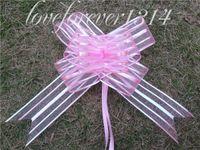 Yes Organza Wedding For Wedding50Pieces lot,5cm Pink Organza Pull Bow Wedding Car Decor Holiday Pull Flower Ribbons Wedding Bridal Favor Supplies