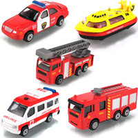 5-7 Years Bus Metal Mini 4 5 piece set fire truck ladder truck water pot car alloy model toy