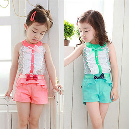Wholesale new summer Children s girls babys princess vest floral sleeveless flower lace bow T shirts jeans ruffles shorts TZ