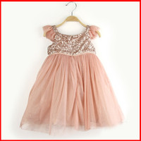 Wholesale 2014 Baby Girls Sequin Dress Kids Summer Princess Dresses Lace Flower And Gauze Hem Dress Thanksgiving Christmas Children Dresses ZJ GDF21