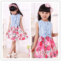 Fashion 2014 Kids Girls Soft Denim Floral Summer Dresses Bab...