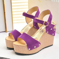 Women Wedge PU Nubuck cowhide high-heeled thick heel platform sandals female