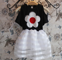 Wholesale 2014 Korean Style Girl Dress Big Sunflower Dresses Strapless Splic Lace Gauze Kids Flower Dresses Casual Summer Outwear White Black C2200