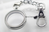 Promotion Stainless Steel Lover Keychains 10pcs floating charms memory living 30mm plain glass locket key rings keychains,glass locket included
