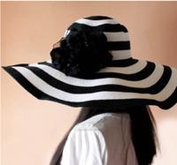 Wholesale 2015 high quality European fashion Women Classical Stripe Zebra Floppy Straw hat ladies Wide CM Brim Beach Hat girls Sun hat