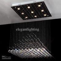 Modern Hotel Silver Wholesale - New 60cm Square Crystal Chandelier Lighting