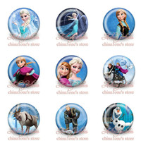 Wholesale New Arrival Hot sale Elsa Anna Olaf Kids Cartoon Tin Buttons pins badges MM Round Brooch Badge Kids Toy Kids Party Favor