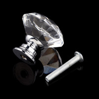 Cheap 1pack 10Pcs 30mm Diamond Shape Crystal Glass Knob Cupboard Drawer Pull Handle New