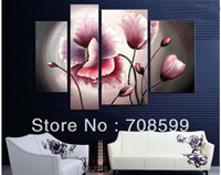 Wholesale Wall art the blossming pink flowers Home Decoration Hand painted Flower Oil Painting on Canvas