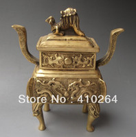 Metal Yes Antique Imitation $wholesale_jewelry_wig$ free shipping Chinese Brass carved ' Erlongxizhu and Lion ' Incense Burners