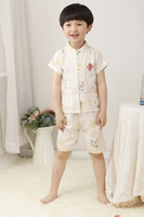 Boy Summer Short Free shipping 2014 linen clothes Baby Boy Traditional Chinese clothes set Summer Short Beige clothes Tang Suit 70 80 90 100 110 120 130cm