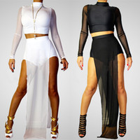Polyester+Spandex white jumpsuit women - Hottest Women Bandage Bodycon Jumpsuit Semi Sheer High Neck White Black Bodysuit Pieces Sexy Club Party Bandage Jumpsuits